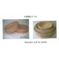 BOL MADERA. Wooden tub. Sawara cypress Juego de dos redondos medidas 33,4  y 30.3 cm diámetro